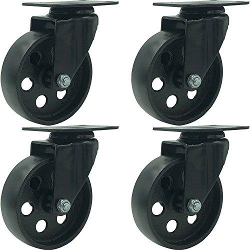FactorDuty 4 All Black Metal Swivel Plate Caster Wheels Heavy Duty High-Gauge Steel (4
