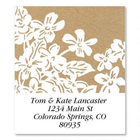 (Kraft Flowers Square Return Address Labels - Set of 144 1-1/8