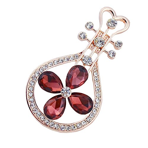 - Small Opal Lute Brooches for Women Chinese Classic Musical Instruments Pins and Brooches Fashion Jewelry Accessories (rose gold)