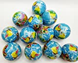 Janext Globe Earth World Map Squeeze Stress Balls Therapeutic Educational Balls Bulk Relief Toys 12 Pack