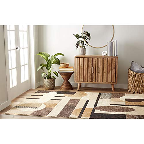 Home Dynamix Tribeca Jasmine Modern Area Rug, Abstract Brown/Beige 7'10