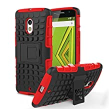 Motorola Moto X Play / DROID Maxx 2 Case, MoKo Heavy Duty Rugged Dual Layer Armor with Kickstand Protective Case for Motorola Droid Maxx 2 / Moto X Play - Red