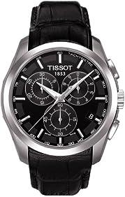 Tissot Men's Couturier T035.617.16.051.00 Black Leather Swiss Quartz Watch with Black Dial