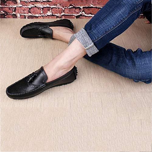 y Slip Zapatos Mocasines Moda Cuero Fiesta Ons Negro de Otoño Negro Comfort Lazy conducción Zapatos Hombre Invierno y de Blanco Zapatos Casual Noche wA8qFxUx