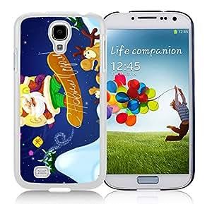 Galaxy S4 Case,Sliding Plate Christmas Santa Claus Christmas Series-TPU White S4 Protective Case,Samsung S4 I9500 Case