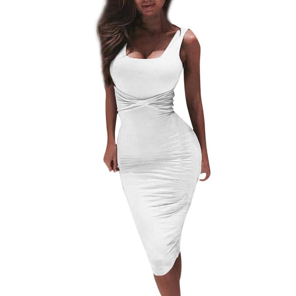 Honestyi Damen Kleid Kragen ärmellos engen Partykleider Elegant ...