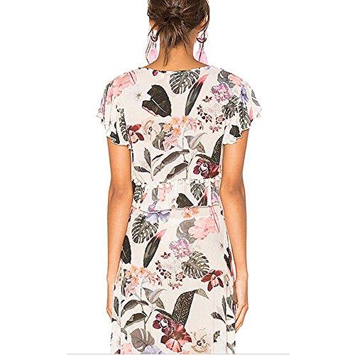 Impresión de la falda larga Deep V Moda T-Shirt de dos piezas de la ropa de las mujeres suits