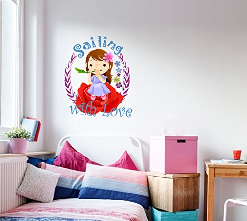 Decals Design Cartoon Girl Sitting on Flower Sailing with Love Wall Sticker (PVC Vinyl)
