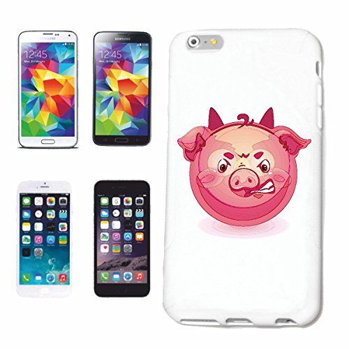 "cas de téléphone iPhone 7S ""PIG FAIM EN CONTREPARTIE ""smile EMOTICON APP de SMILEYS SMILIES ANDROID IPHONE EMOTICONS IOS"" Hard Case Cover Téléphone Covers Smart Cover pour Apple iPhone en blanc"