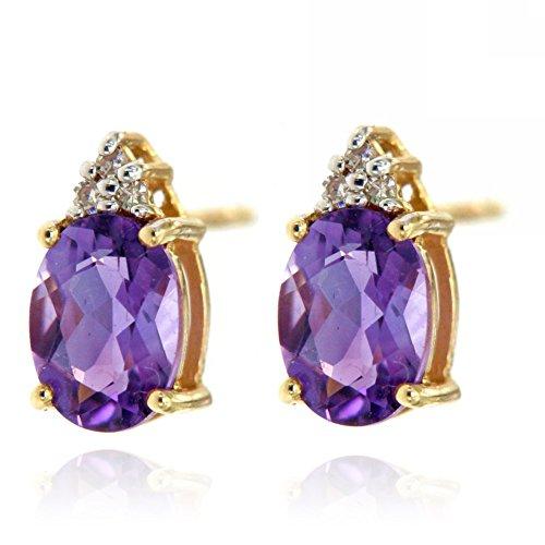 Gold Amethyst Diamond Earrings - 3