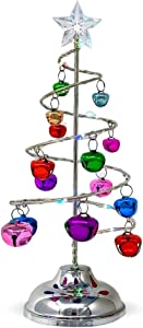 "Light Up Tabletop Spiral Bright Colored Jingle Bell Christmas Tree - Battery Operated Silver Table Top Tree with Multi Color Changing Lights - Home Wedding Holiday Decor -Approx 10.25"" Tall"