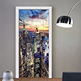 Gzhihine custom made 3d door stickers New York Decor Skyline of NYC with Urban Skyscrapers at Sunset Dawn Streets USA Architecture Orange Blue For Room Decor 30x79
