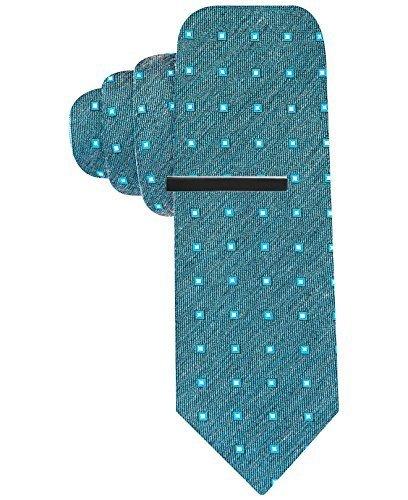 Alfani Men's Stevie Reversible Skinny Tie Necktie (Aqua) (Reversible Mens Tie)