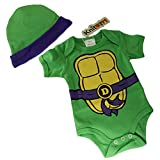 Knitwits 'Teeny Mutant Ninja Toddlers' Onesie and Hat Bundle Outfit (0-3 Months, Purple)