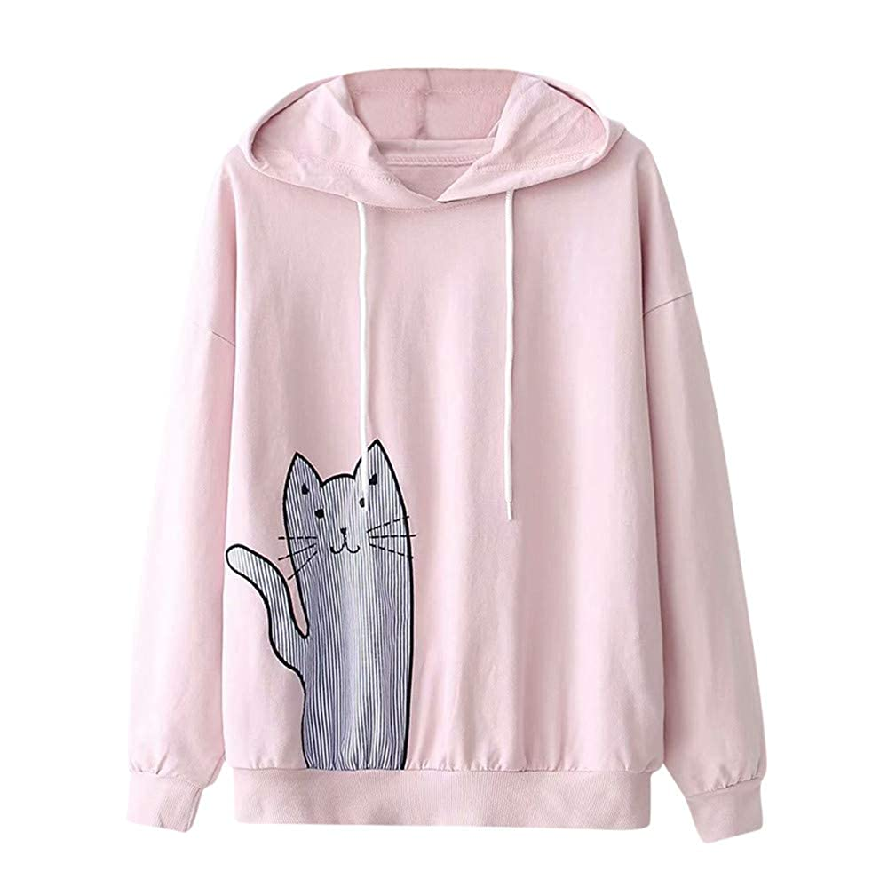 Londony ♥‿♥ Newest Sales,Hoodie for Women,Ladies Cute Cat Print Long Sleeve Drawstring Pullover Hooded Sweatshirt Londony007