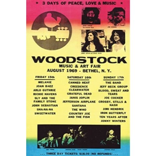 - Buyartforless Woodstock Line-Up 1969 36x24 Art Print Poster Wall Decor - 3 Days of Peace Love and Music Concert Poster