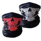 Image of Skull Masks Motorcycle Riding Tube Face Mask Buff Multifunctional Outdoor Masks Bandana Beanie Scraf Headband Muffler Red-White