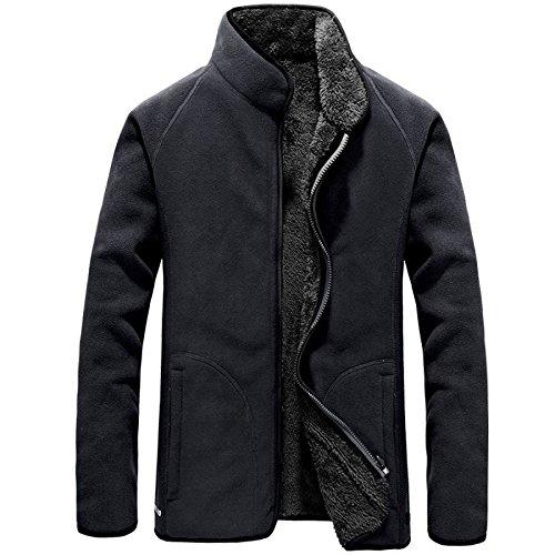 a Caldo Lavoro Formale Con Cerniera Casual Giacca xxl In Da Classica Addensato Uomo Cappotto grey Pile qETnz6F