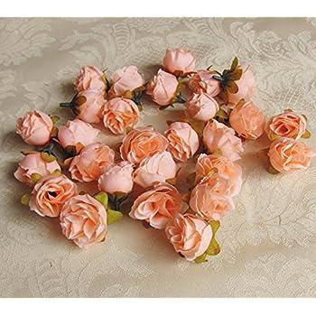 Amazon 12inch dia peach mini silk rose flower heads for diy 12inch dia peach mini silk rose flower heads for diy brooch headpieces wedding garland craft mightylinksfo