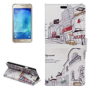 City Pattern Background Horizontal Leather Case Funda Flip Cover con bolsillos interiores & Wallet & Holder para Samsung Galaxy J7 J700 /