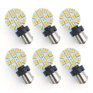 Value-Pack of Six (6) 2-in-1 (Universal) Eco-LED Warm White LED Bulb, each with 12 SMD 5050 & Side T10 & BA15S Connectors(WBU-WW12M6)