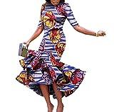 SportsX Womens Mermaid Dashiki Batik Short Sleeve Africa Party Maxi Dress 11 2XL