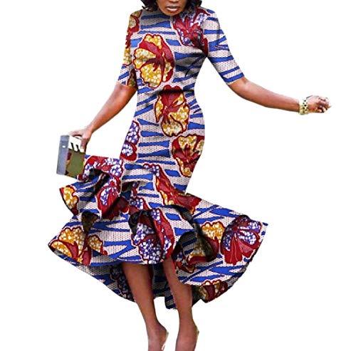 SportsX Womens Mermaid Dashiki Batik Short Sleeve Africa Party Maxi Dress 11 2XL by SportsX