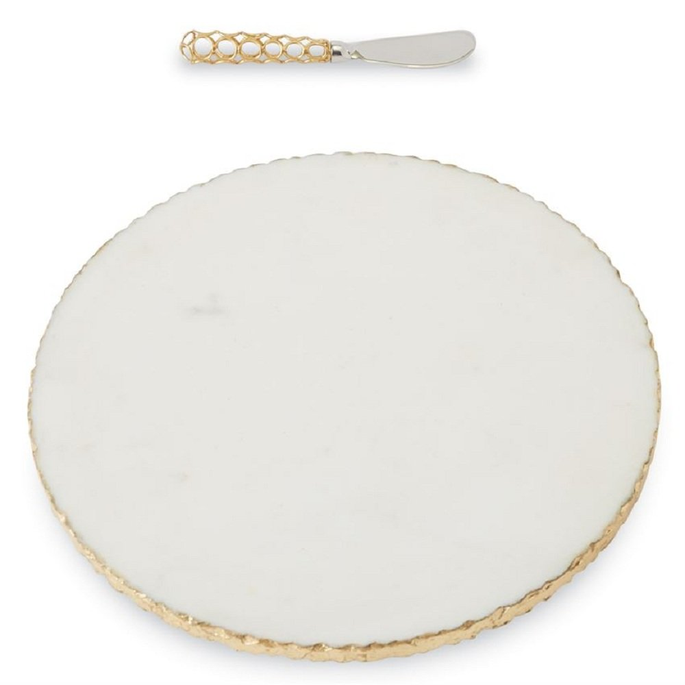 Mud Pie 4755024 Gold Edge Marble Set Serving Board, One Size, White MudPie