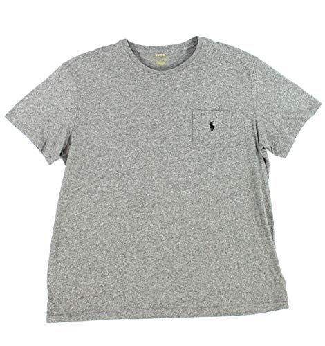 (Polo Ralph Lauren Mens Stretch Cotton Pocket T-Shirt (Grey Heather/Navy Pony, X-Large))