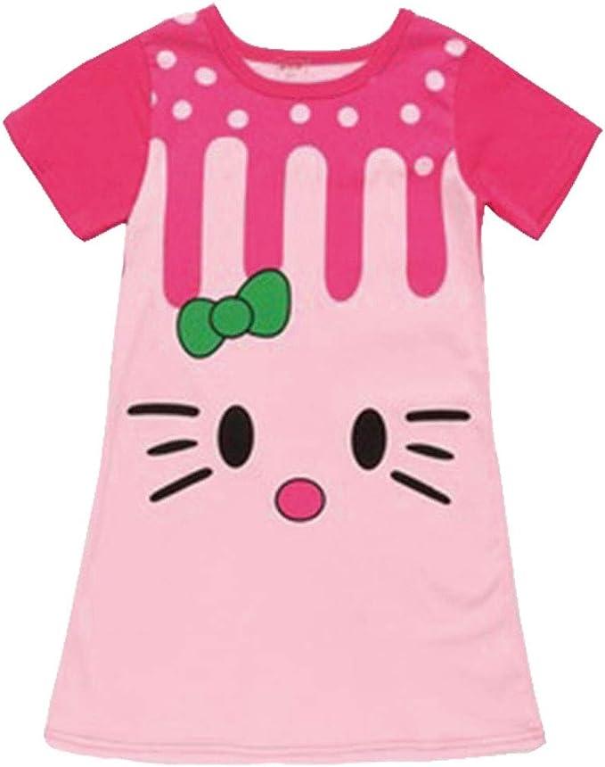 Niñas camisón Pijama de Verano Niños Manga Corta del camisón Lindo 100% de algodón para bebés Dormir del niño Vestido Tamaño 100cm: Amazon.es: Ropa y accesorios