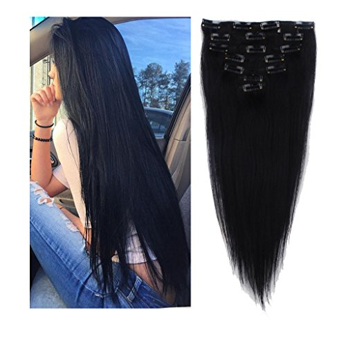 [Human Hair Wigs Clip in Hair Extension Human Hair Standard Light Weft 16-22inch Long Straight 7 Pieces] (Android 17 And 18 Costumes)