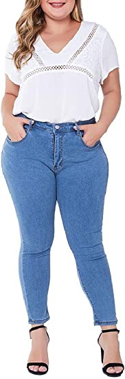 AngelSpace Women Stretch Ripped Hole Skinny High Waisted Plus-Size Denim Jeans
