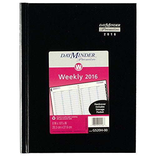 DayMinder Weekly Planner, Premiere, Hardcover, 8 x 10-7/8 Inch Page Size, Black (G520H-00-16)