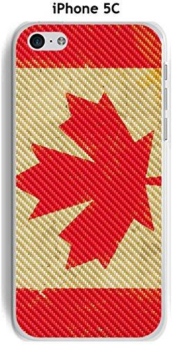 Cover Apple iPhone 5C Design Bandiera Canada Vintage effetto carbonio