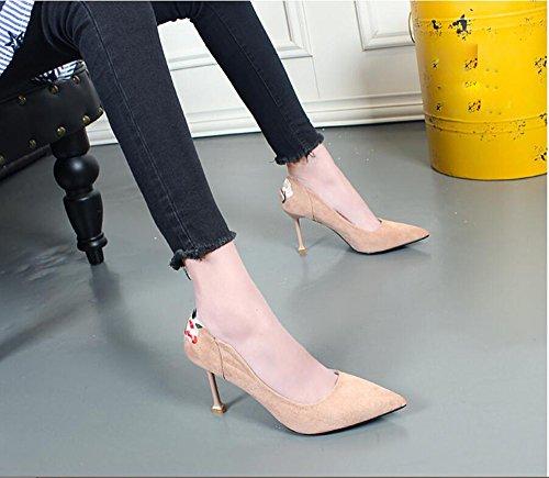 KHSKX-Señaló Stilettos Coreano Spring Nueva Gamuza Bordado Color Match Shoes Zapatos Zapatos Zapatos Otoño Gato Nude color
