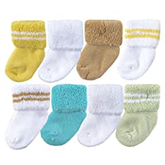 Luvable Friends terry socks are soft, snuggly, warm socks to keep baby's feet feeling cozy and comfortable. The fold-over cuff style make it easier to keep baby's socks on their feet. Our super soft cotton blend socks are gentle and are made ...