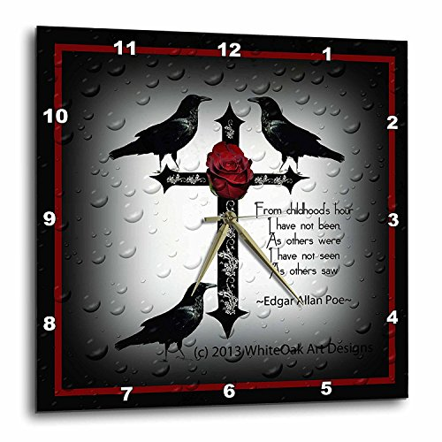 - 3dRose dpp_165355_3 A Black Gothic Cross with Designs and Ravens-Wall Clock, 15 by 15-Inch
