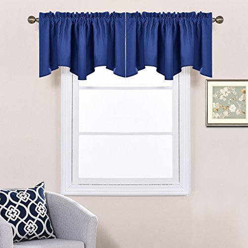 Nicetown Blackout 52-inch by 18-inch Scalloped Valance Window Curtain, Navy Blue, One Piece - Window Valances Blue