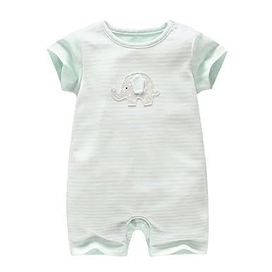 9999154b0bb2c  アビコ ABICO 夏 ベビー ロンパース 可愛い 象プリント 半袖 柔らか カバーオール 綿 赤ちゃん 新生児