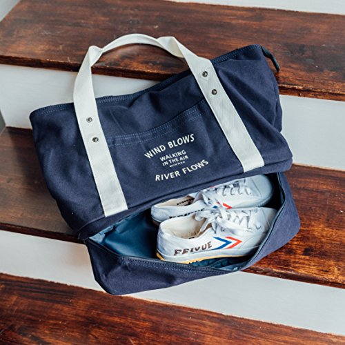 Sports Gym Duffel Bag Travel Tote Bag with Shoes Compartment, Canvas Shoulder Hand Bag for - Shoe Tote Bag