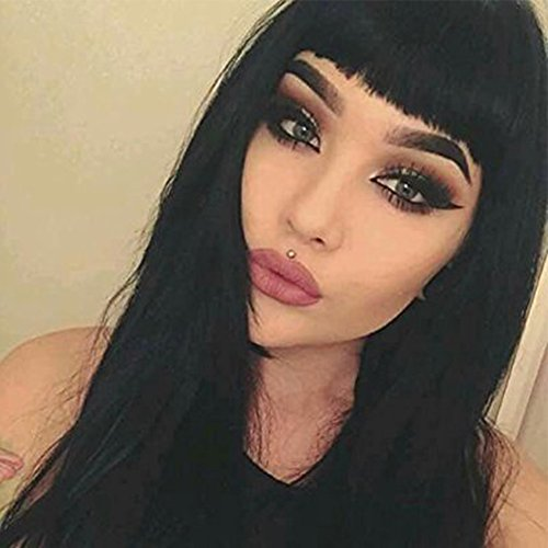 netgo Long Straight Black Wigs with Bangs for Black Women Heat Resistant Yaki Synthetic Natural Loooking Wigs