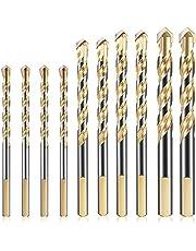 KAHEIGN 10 Stks Metselwerk Boor, 6/8/10/12mm Wolfraamcarbide Boor Set voor Porselein Keramische Tegel Beton Baksteen Muur Glas Spiegels Plastic Metselwerk Hout