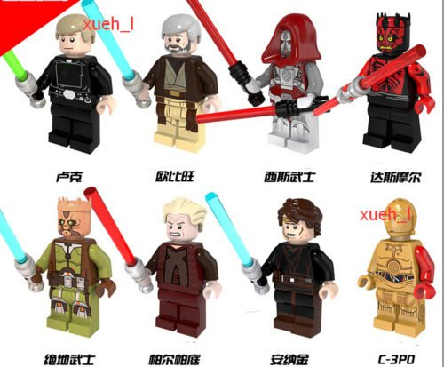 8sets MiniFigures Star Wars:Darth Maul Jedi Knight Sidious Obi-wan Blocks Toys