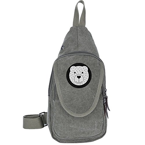 Backpack Canvas Chest Pack Bag Cute Cartoon Bear Rucksack Sling Hiking Shoulder Crossbody Sport Cycling Camping (Bear Grylls Halloween Costume)