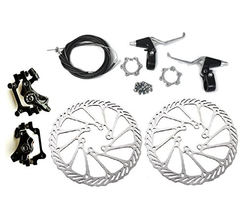 BlueSunshine BB7 Front and Back Disk Brake Kit - 160mm For 80cc Gas Motorized Bicycle (Disk Brake Kit - G3 - 2) (Hub Wheel Adapter 1000 Disc)