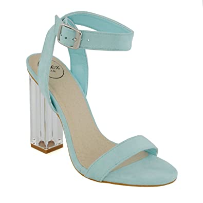 d647b52be118 ESSEX GLAM Womens Ankle Strap Clear Heel Pastel Blue Faux Suede Party  Sandals 5 B(