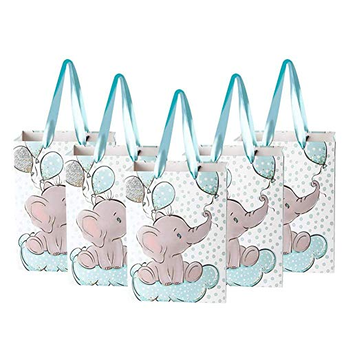 NPLUX 24 Packs Elephant Baby Gift Bag Baby Shower Goodie Bags Birthday Party Favor Bags for Kids Animal Theme Party…