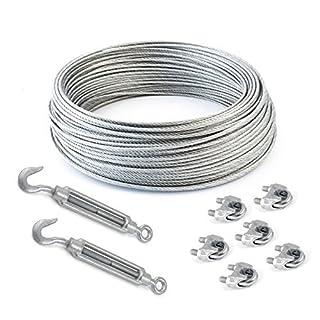 COJUNTO 5m cuerda de alambre galvanizado 6mm hebra: 6x7 + 6 abrazaderas + 2 tensores ojetes/gancho