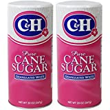 C&H Pure Cane Granulated Sugar, 20 Oz Easy Pour Reclosable Top Canister (Pack of 2)