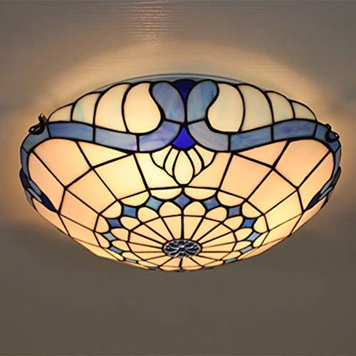 Tiffany Style Ceiling Lamp Flush Mount Ceiling Light Stained Glass Shade Ceiling Decoration Round Chandelier LED Night Light E27 for Living Room Bedroom Hotel Hall